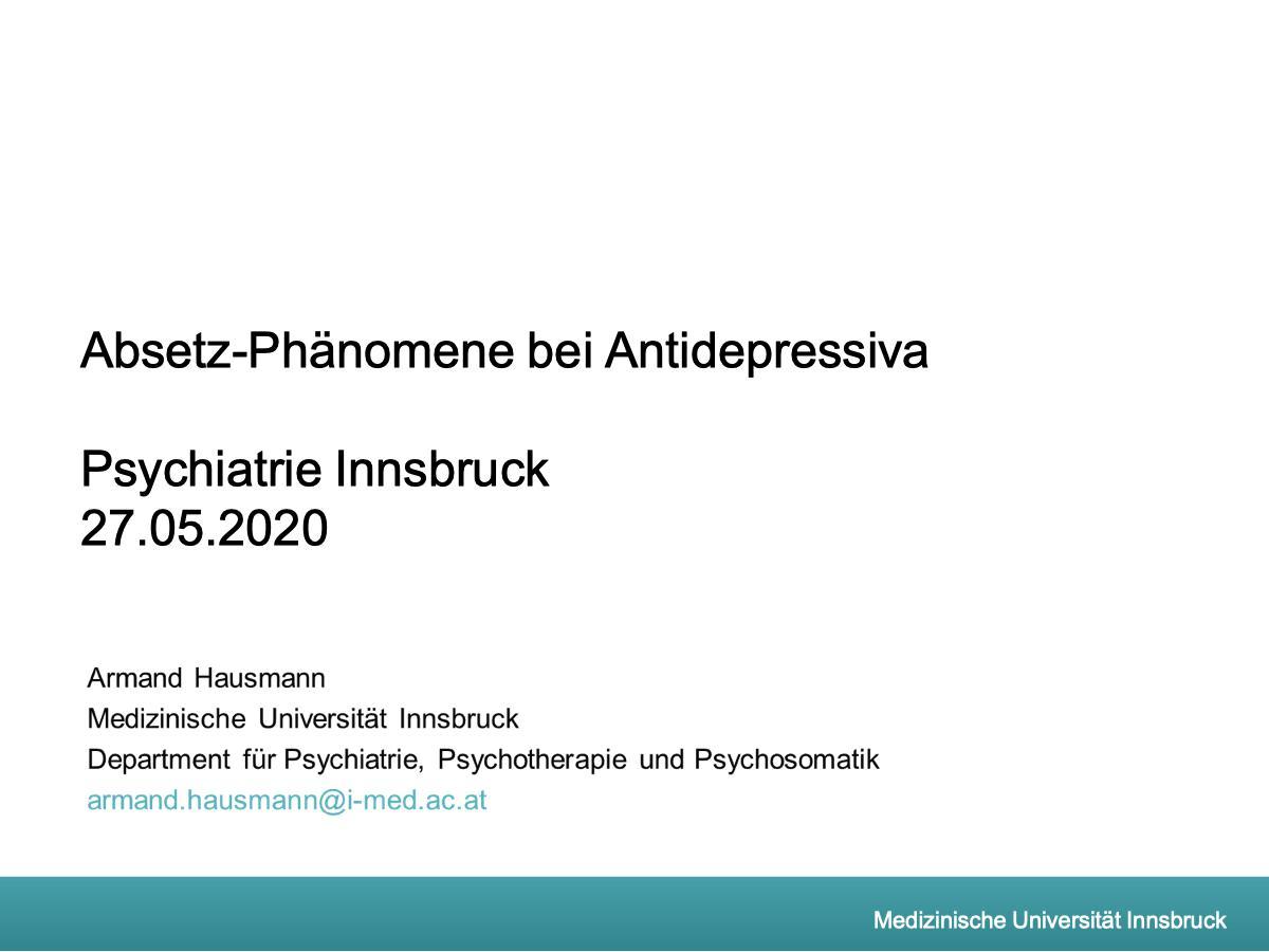 Absetzphänomene bei Antidepressiva - Psychiater