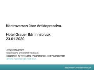 Hausmann Antidepressiva Kontroversen Innsbruck 2020