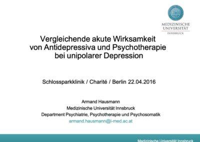 Vergleichende akute Wirksamkeit von Antidepressiva und Psychotherapie bei unipolarer Depression