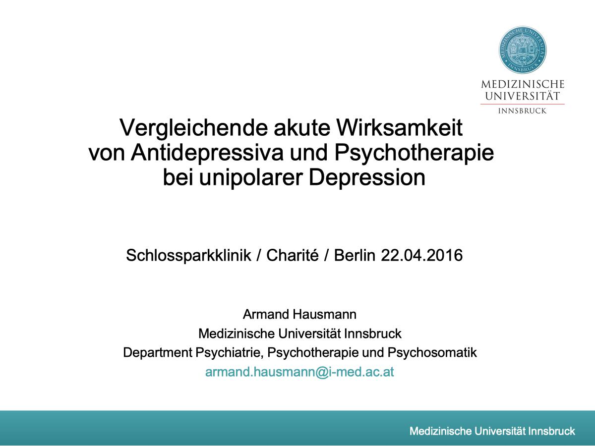 Vergleichende akute Wirksamkeit von Antidepressiva und Psychotherapie bei unipolarer Depression - Psychiater