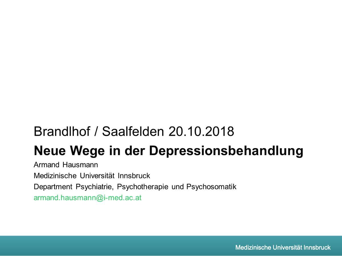 Neue Wege in der Depressionsbehandlung - Psychiater
