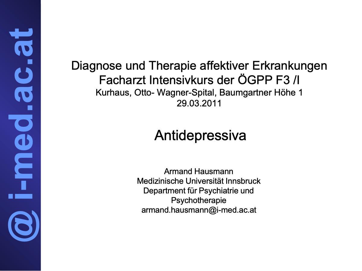 Diagnose und Therapie affektiver Erkrankungen - Psychiater