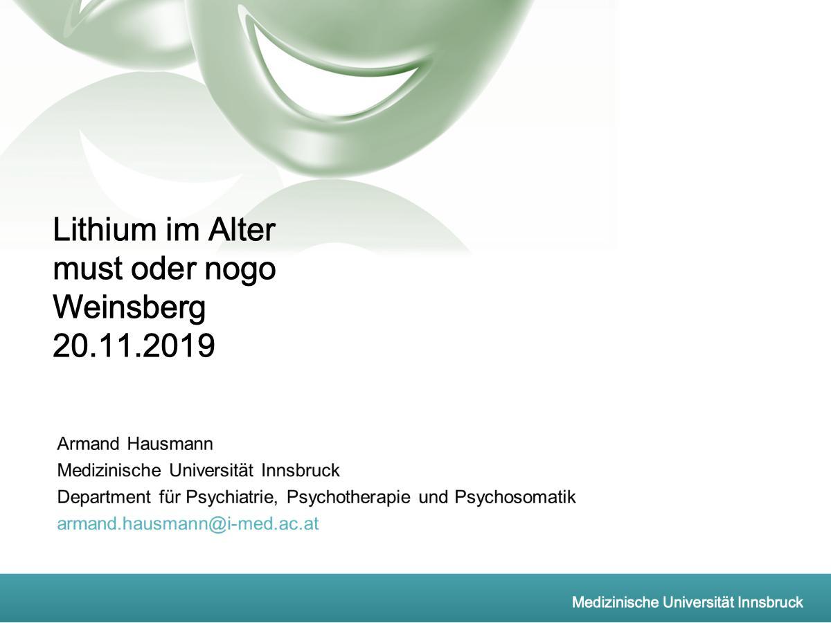 Lithium im Alter must oder nogo - Psychiater