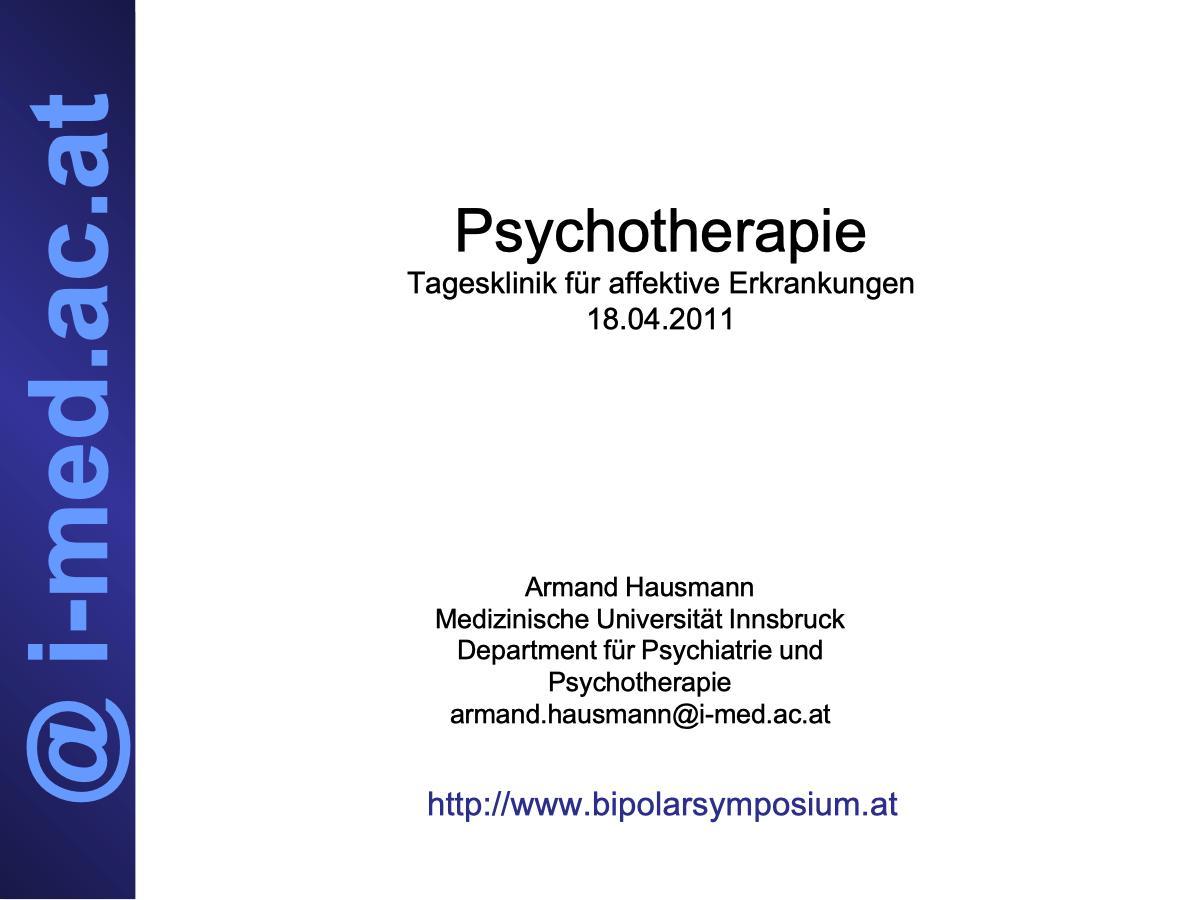 Psychotherapie - Psychiater